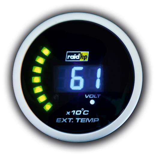 Kfz Einbauinstrument Abgastemperaturanzeige Messbereich 0 - 1250 °C raid hp 660507 NightFlight Digital Blue Blau, Weiß