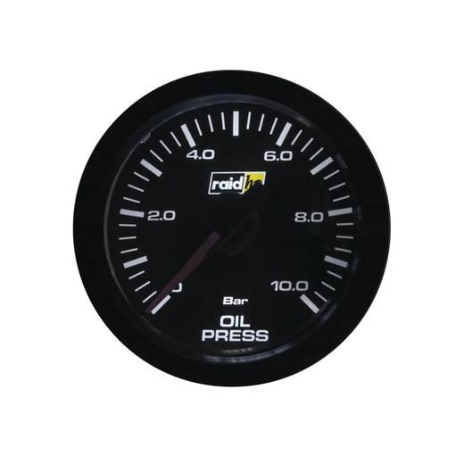 Kfz Einbauinstrument Öldruckanzeige Messbereich 0 - 10 bar raid hp 660173 Sport Weiß, Rot 52 mm
