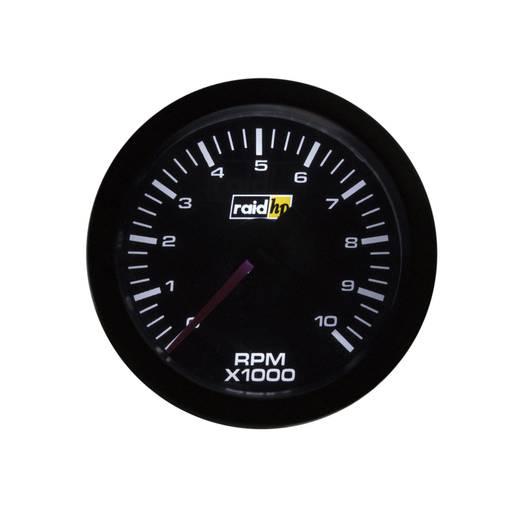 Kfz Einbauinstrument Drehzahlmesser Benzinmotor Messbereich 0 - 10000 U/min raid hp 660180 Sport Weiß, Rot 52 mm