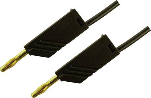 Messleitung [ Lamellenstecker 4 mm - Lamellenstecker 4 mm] 0.50 m Schwarz SKS Hirschmann MLN 50/2,5 Au schwarz