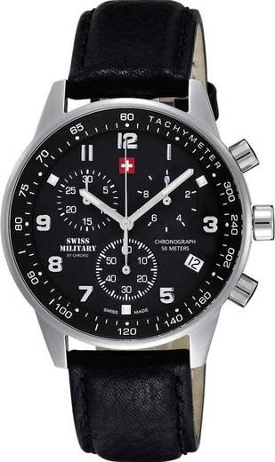 Quarz, Chronograph Armbanduhr 20042ST-1L (Ø x H) 41 mm x 9 mm Edelstahl Gehäusematerial=Edelstahl Material (Armband)=Kalbsleder Swiss Military