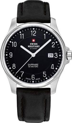 Quarz Armbanduhr 20076ST-9L (Ø) 39 mm Edelstahl Gehäusematerial=Edelstahl Material (Armband)=Kalbsleder Swiss Military