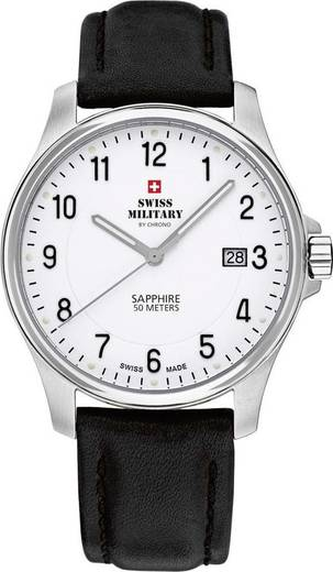 Quarz Armbanduhr 20076ST-4L (Ø) 39 mm Silber Gehäusematerial=Edelstahl Material (Armband)=Leder Swiss Military