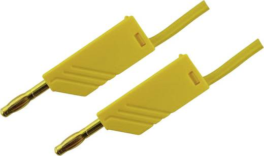 Messleitung [ Lamellenstecker 4 mm - Lamellenstecker 4 mm] 1 m Gelb SKS Hirschmann MLN 100/2,5 Au geel