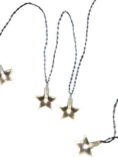 Motiv-Lichterkette Sterne Innen netzbetrieben 20 LED Warm-Weiß Beleuchtete Länge: 5.7 m Polarlite 679295