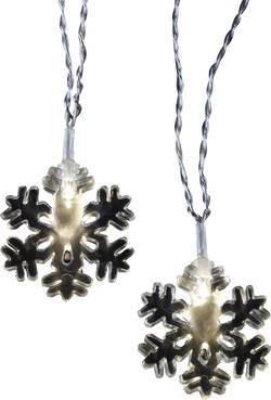 Venkovní vánoční řetěz Polarlite, sněhové vločky, 16 LED, 4,6 m, teplá bílá