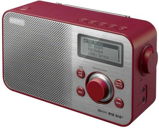 DAB+ Kofferradio Sony XDR-S60 AUX, DAB+, UKW Rot