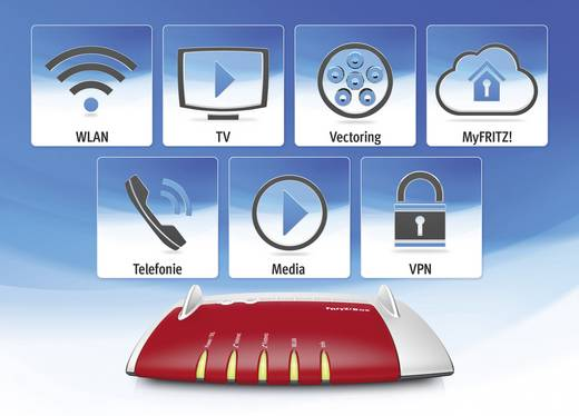 AVM FRITZ!Box 7490 WLAN Router mit Modem Integriertes Modem: ADSL, ADSL2+, VDSL 2.4 GHz, 5 GHz 1.75 GBit/s