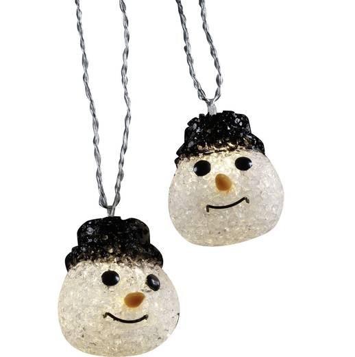 Motiv-Lichterkette Schneemänner Außen netzbetrieben 10 LED Warm-Weiß Beleuchtete Länge: 2.7 m Polarlite 679994