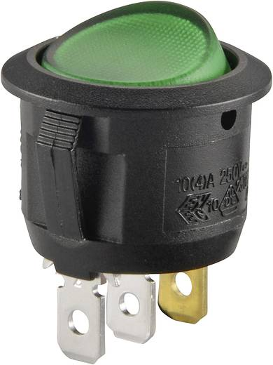 Wippschalter 250 V/AC 6 A 1 x Aus/Ein R13-112B B/G 200V rastend 1 St.