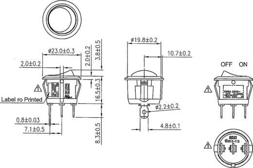 Wippschalter R13-112B B/G 200V 250 V/AC 6 A 1 x Aus/Ein rastend 1 St.