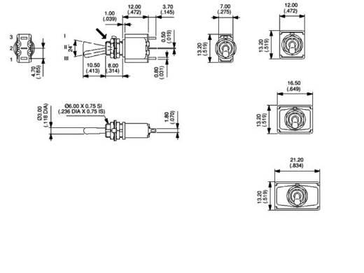 Kippschalter 250 V/AC 3 A 1 x Ein/Aus/Ein APEM 5539A / 55390003 rastend/0/rastend 1 St.