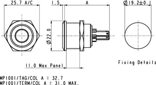 Vandalismusgeschützter Drucktaster 24 V/DC 0.05 A 1 x Aus/(Ein) Bulgin MPI002/28/GN IP66 tastend 1 St.