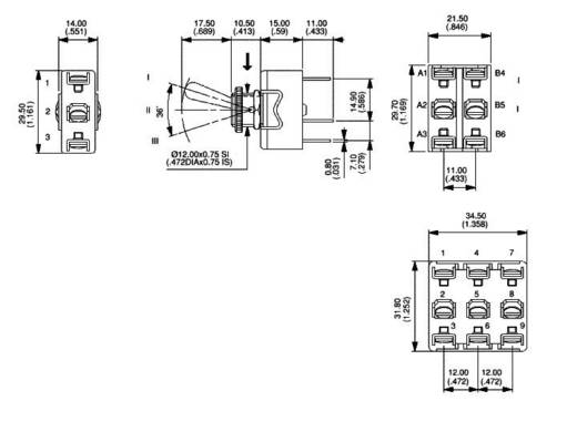 Kippschalter 250 V/AC 10 A 1 x (Ein)/Aus/(Ein) APEM 637NH/2 / 6373019 tastend/0/tastend 1 St.