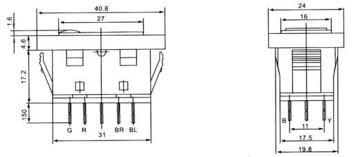 Kfz-Wippschalter 12 V/DC 20 A 2 x (Ein)/Aus/(Ein) tastend/0/tastend ...