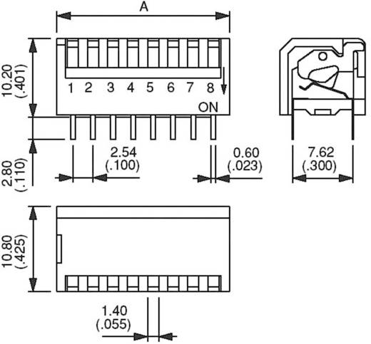 DIP-Schalter Polzahl 2 Piano-Type APEM DP-02 1 St.