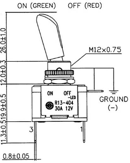 Kippschalter 12 V/DC 30 A 1 x Aus/Ein SCI R13-404AL2 rastend 1 St.
