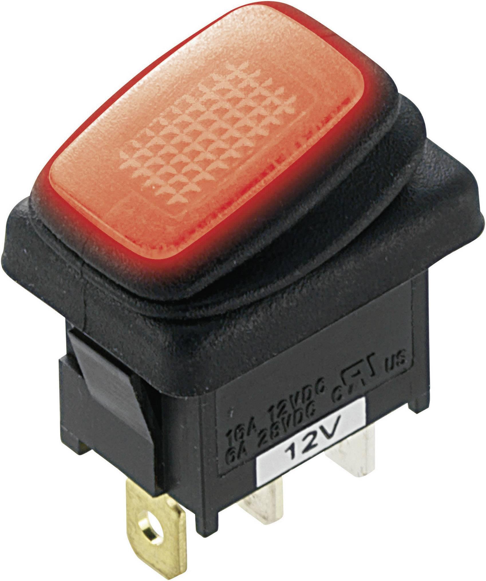TRU Components Wippschalter TC-R13-66B2-02 B//B 12V 16A 1 x Aus//Ein rastend 1St.