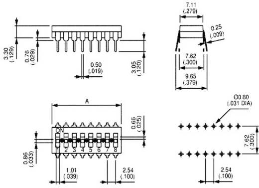 DIP-Schalter Polzahl 8 SMD APEM IKL0803000 1 St.