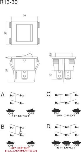 Wippschalter 250 V/AC 10 A 1 x Aus/Ein SCI R13-30B-01 GN rastend 1 St.