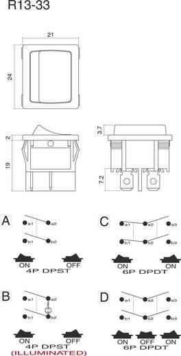 Wippschalter 250 V/AC 6 A 2 x Ein/Aus/Ein SCI R13-33D-02 rastend/0/rastend 1 St.