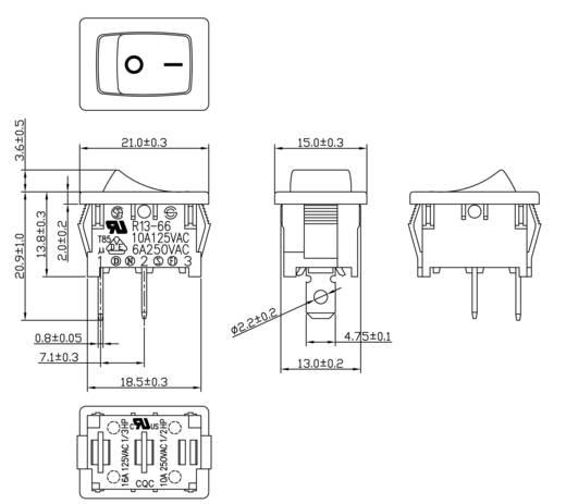 SCI Wippschalter R13-66A-02 250 V/AC 6 A 1 x Aus/Ein rastend 1 St.