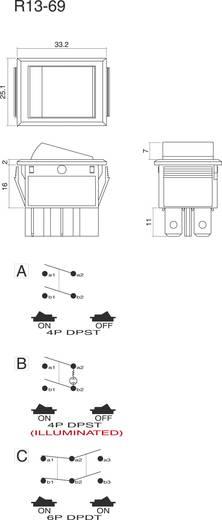 Wippschalter 250 V/AC 10 A 2 x Aus/Ein SCI R13-69A-01 rastend 1 St.