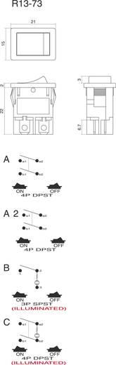 Wippschalter 250 V/AC 6 A 2 x Aus/Ein SCI R13-73A-02 rastend 1 St.