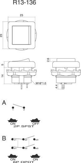 Wippschalter 250 V/AC 6 A 2 x Ein/Ein SCI R13-136B-05 RED rastend 1 St.