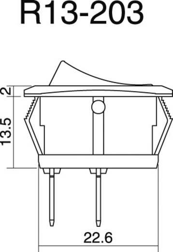 Kfz-Wippschalter 12 V/DC 25 A 1 x Aus/Ein rastend SCI R13-203L-SQ GREEN 1 St.