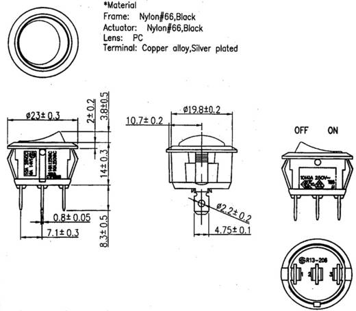 SCI Wippschalter R13-208B-02 12 V/DC 20 A 1 x Aus/Ein rastend 1 St.