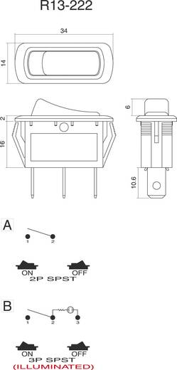 Wippschalter 250 V/AC 10 A 1 x Aus/Ein SCI R13-222B-01 B/G 220 V/AC rastend 1 St.