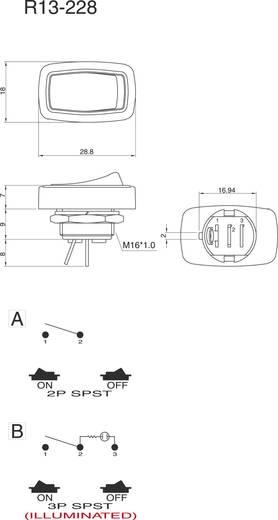 Wippschalter 250 V/AC 6 A 1 x Aus/Ein SCI R13-228A-05 rastend 1 St.