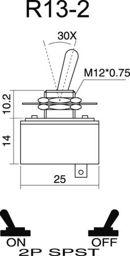 Kippschalter 250 V/AC 1.5 A 1 x Aus/Ein SCI R13-2-05 rastend 1 St.