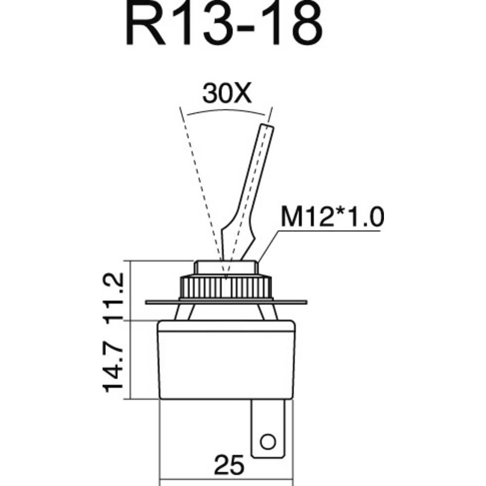 SCI R13-18B-SQ BLACK LEVER CarAutomotive Toggle Switch 20A