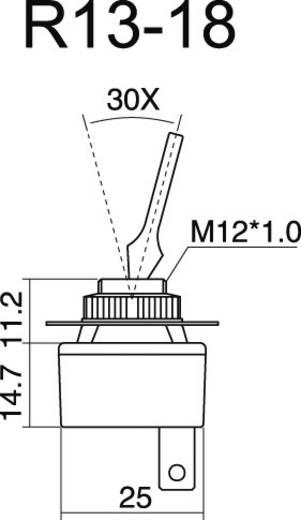 Kfz-Kippschalter 12 V/DC 20 A 1 x Aus/Ein rastend SCI R13-18B-SQ BLACK LEVER 1 St.