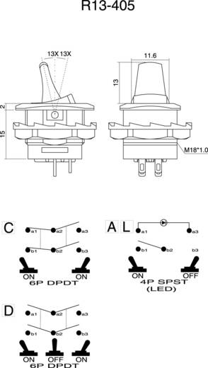 Kippschalter 250 V/AC 6 A 2 x Ein/Ein SCI R13-405C-05 rastend 1 St.