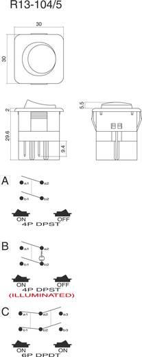 Wippschalter 250 V/AC 10 A 1 x Aus/Ein SCI R13-105B-01 B/Y rastend 1 St.