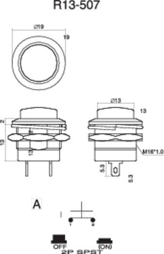 Drucktaster 250 V/AC 3 A 1 x Aus/(Ein) SCI R13-507A-05BK tastend 1 St.