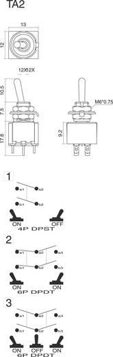 Kippschalter 250 V/AC 3 A 2 x Ein/Aus/Ein SCI TA203A1 rastend/0/rastend 1 St.