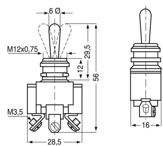 KN3 Kippschalter 250 V/AC 10 A 2 x Ein/Aus/Ein rastend/0/rastend 1 St.
