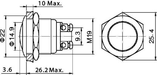 Vandalismusgeschützter Drucktaster 48 V/DC 2 A 1 x Aus/(Ein) TRU COMPONENTS GQ 19B-N IP65 tastend 1 St.
