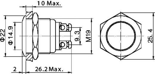 TRU COMPONENTS GQ 19F-N Vandalismusgeschützter Drucktaster 48 V/DC 2 A 1 x Aus/(Ein) IP65 tastend 1 St.