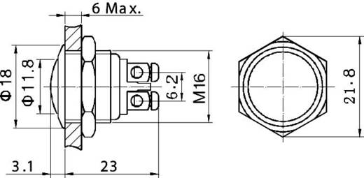 Vandalismusgeschützter Drucktaster 48 V/DC 2 A 1 x Aus/(Ein) TRU COMPONENTS GQ 16B-G IP65 tastend 1 St.