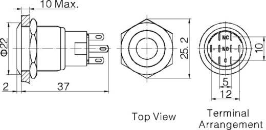 Vandalismusgeschützter Druckschalter 250 V/AC 5 A 2 x Ein/Ein TRU COMPONENTS LAS1-AGQ-22ZD, GN IP67 rastend 1 St.
