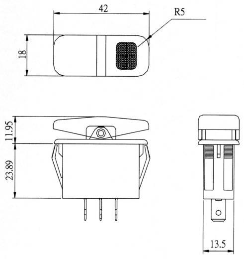 Wippschalter 14 V/AC 21 A 1 x (Ein)/Aus/(Ein) SCI R13-258I IP66 tastend/0/tastend 1 St.