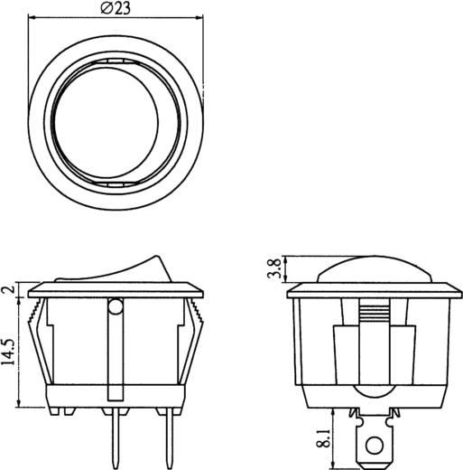 Wippschalter 250 V/AC 6 A 1 x Aus/Ein 28430C606 rastend 1 St.