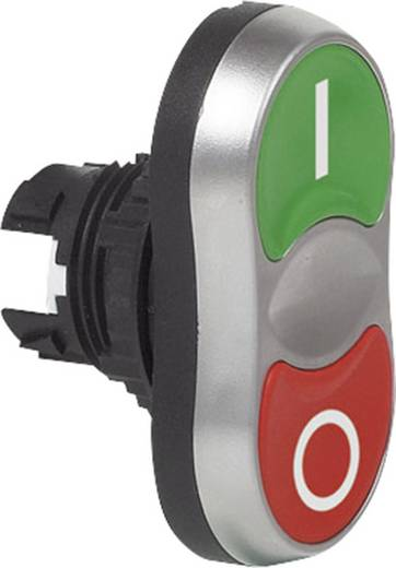 Doppeldrucktaster Frontring Kunststoff, verchromt Grün/Rot BACO L61QB21B 1 St.