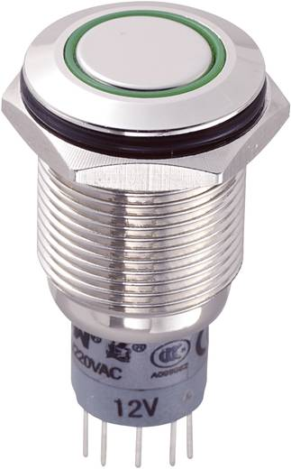 Vandalismusgeschützter Drucktaster 250 V/AC 3 A 2 x Ein/(Ein) TRU Components LAS2GQF-22E/G/12V/N/P IP65 tastend 1 St.