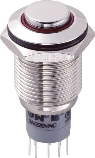 Vandalismusgeschützter Druckschalter 250 V/AC 3 A 2 x Ein/Ein TRU Components LAS2GQH-22ZE/R/12V/N/P IP67 rastend 1 St.
